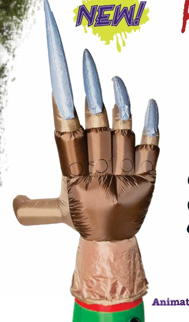 New for 2018: Animated Inflatable Freddy Krueger Glove